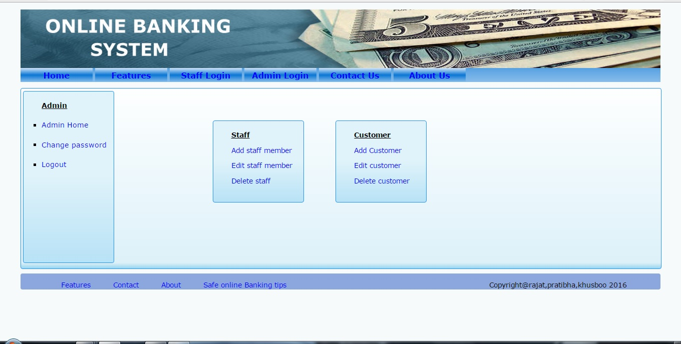 Online Banking system php project